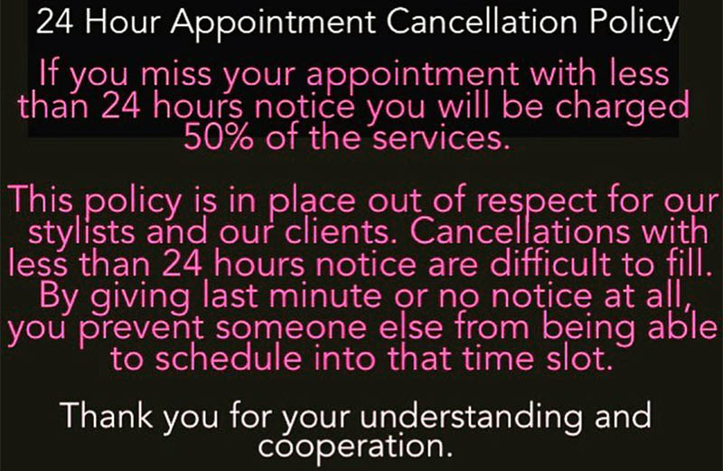 Cancellation Policy Vision Of Hair